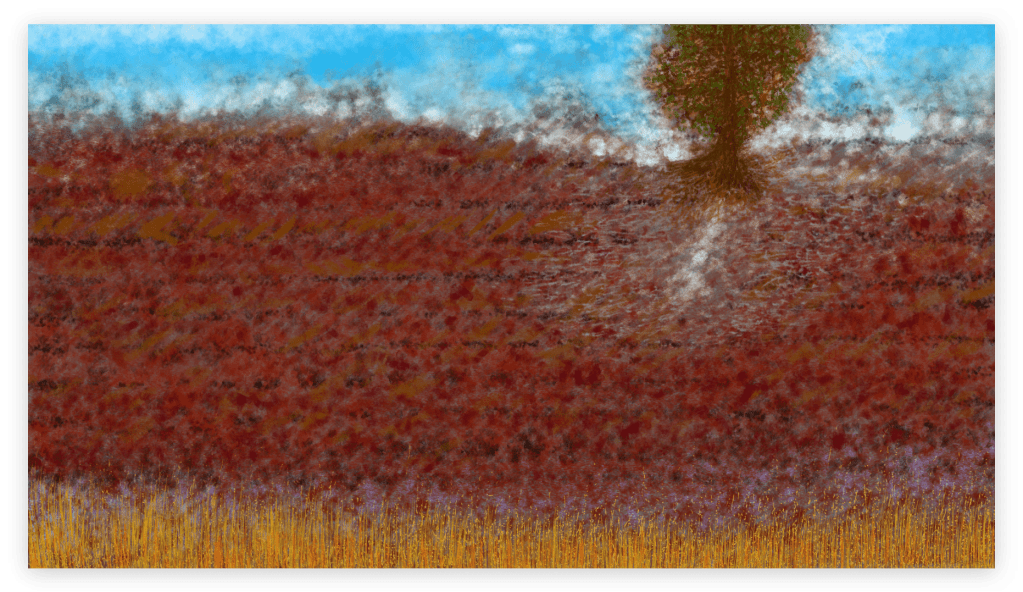 Fascinating nature art print inspired from the red lands of the fields