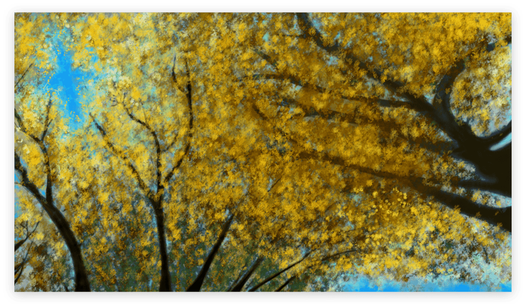 First image of 'Japanese Linden'. Remarkable art print inspired by the pulsating radiance of Japanese Linden golden leaves in Occitanie, France. artist: Anne Turlais - Limited edition of 300. Floral Art Print for sale, printed on Dibond.