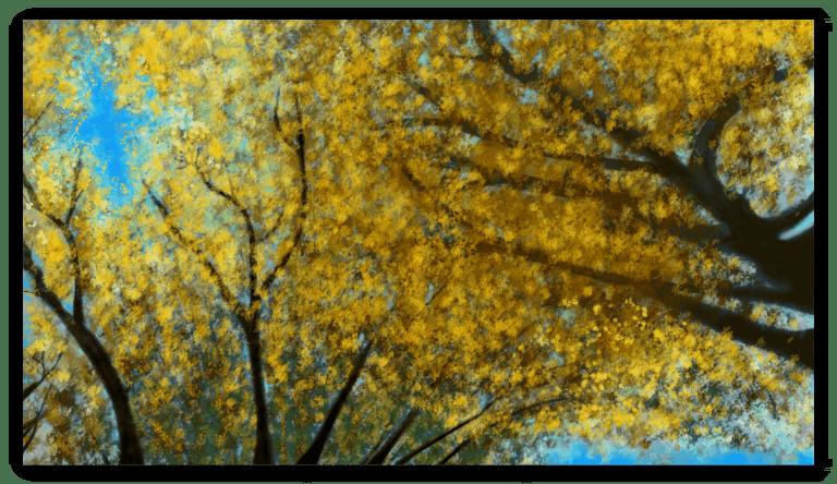 Première image de 'Tilleuil Japonais'. Remarquable oeuvre d'art inspiré par l'éclat pulsant des feuilles dorées du tilleuil japonais en Occitanie, France. artiste : Anne Turlais - Edition limitée à 300 exemplaires. Impression d'Art Floral à vendre, imprimée sur papier Fine Art et encollée sur Dibond.