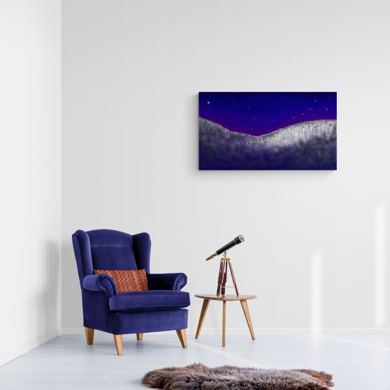 Second Image of 'Nights in Occitanie' - Magnificent art to hang on the wall, inspired by the night starry nights of Occitanie in the south of France. Painted by Anne Turlais and printed in France on Dibond in 300 copies.