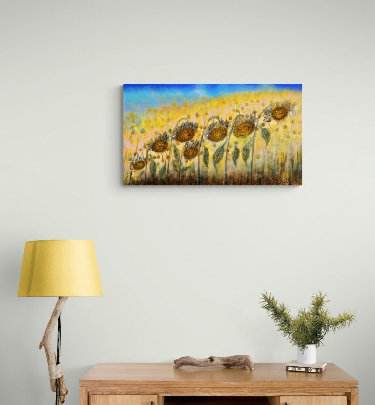 Stunning art print inspired by the sunflowers of Occitanie, France. artist: Anne Turlais - Limited edition of 300. Printed on Dibond.