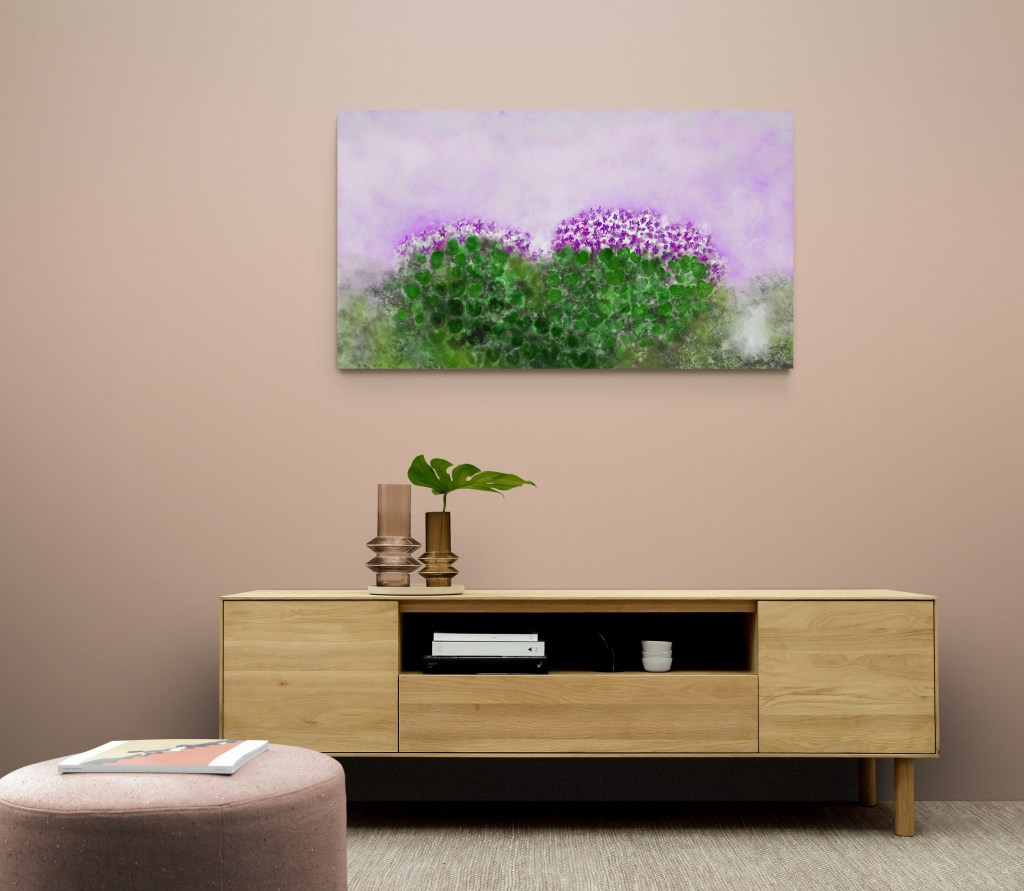 Second image of 'Violets' - Stunning art print inspired by the violets of Occitanie's nature, in France. artist: Anne Turlais - Limited edition of 300. Abstract floral art printed on Dibond.