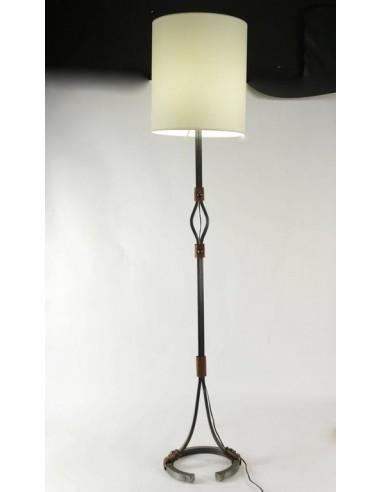 lampadaire des annees 60 en fer forge et cuir