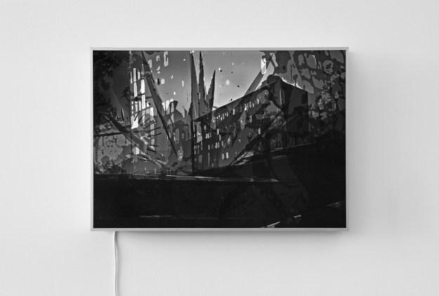 """Stefanie Busch: """"Stilllegung_01"""", 2008, Folienmontage im Leuchtkasten, 60 x 85 cm"""