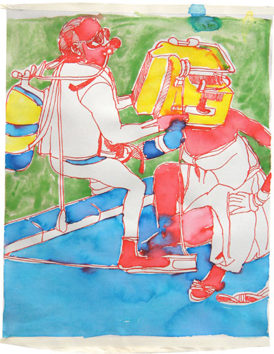 Petra Flierl: Taucher I · 2007 · Tusche, Aquarell auf Papier · 30 x 24 cm