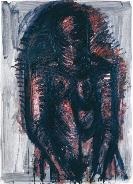 "Lothar Böhme ""Stehender Akt"", 2007, Öl auf Papier"