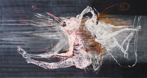 "Frank Seidel ""Doppelseele"" 2007, Öl auf Leinwand, 125 x 240 cm"