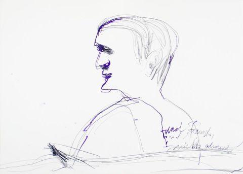 """Wolfram Adalbert Scheffler, """"Zu Uwe Greßmann"""", 2013, Bleistift auf Papier, je 50,0 x 70,0 cm (eins aus einer Serie von 9)"""