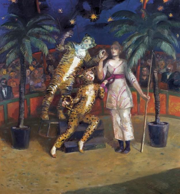 "Harald Metzkes: ""Panther, Tiger, Frau"" 2008, Öl auf Leinwand"