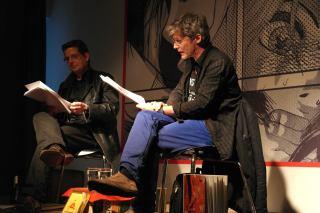 """LESUNG: """"der hahn im sperrmüll…"""" mit Joerg Waehner und Robert Mießner."""