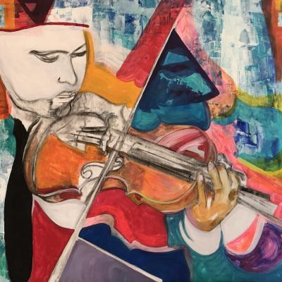 Violoniste, une toile de Corinne Trabichet.