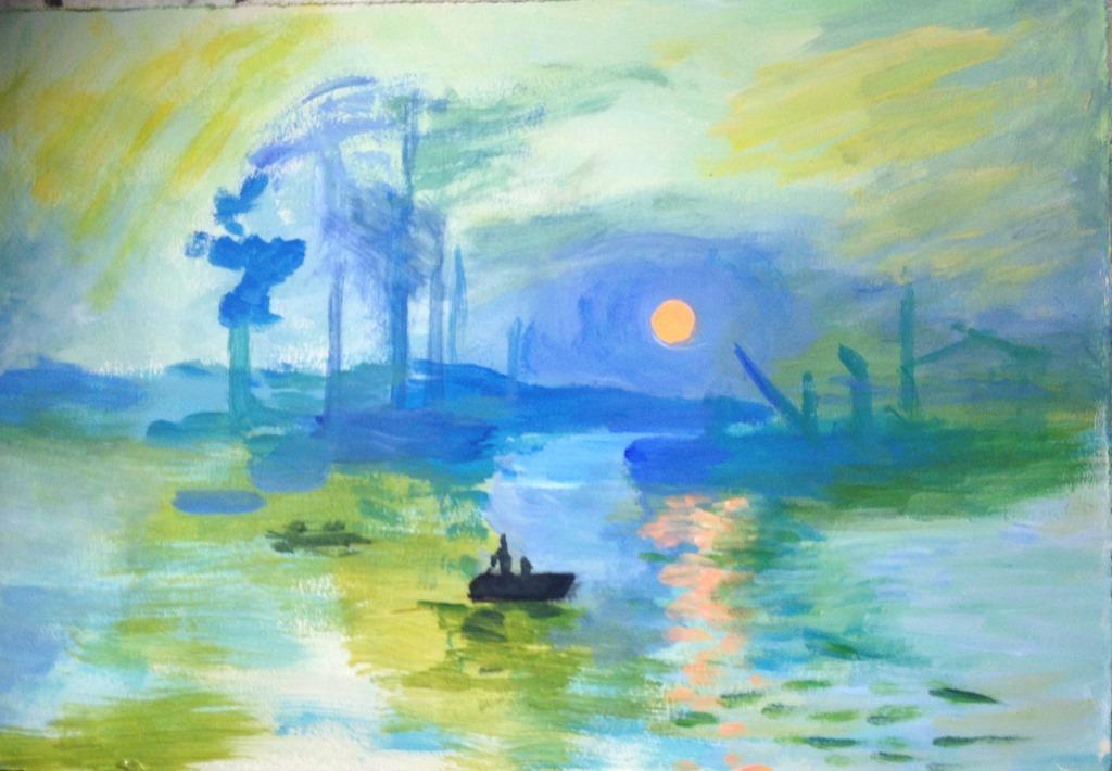 Toile n 8 impression soleil levant claude monet - Salon du dessin et de la peinture a l eau ...
