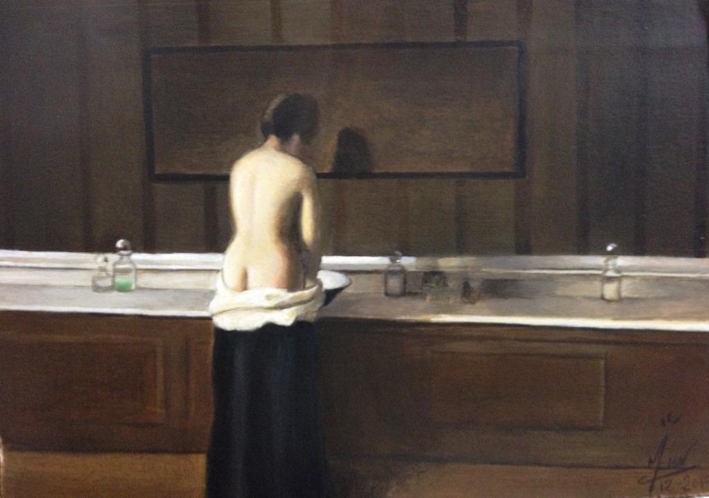 Toile n°22 Jeune femme à sa toilette Eugène Lomont
