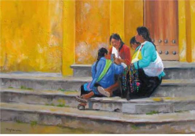 PUYBAREAU - 2012 Les marches de l'église Mexique 73X60