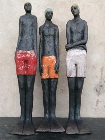 Sylvie du PLESSIS - Les trois petits nageurs -raku- 2012