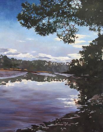 Jacques GODIN - 18 Crépuscule sur la rivière de Pont-L'Abbé