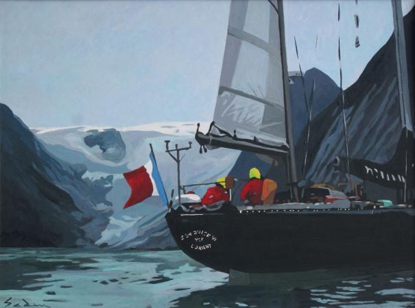 Jacques GODIN - 2020 Arrivée au Tasiermut, acrylique sur papier, 30 x 40 cm