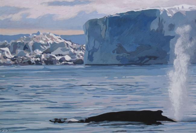 Jacques GODIN - 2020 Dans le souffle de la baleine, gouache sur papier, 34 x 49 cm