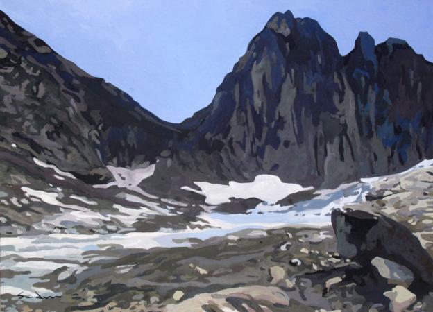 Jacques GODIN - 2020 Éboulis, gouache sur papier, 22 x 30 cm