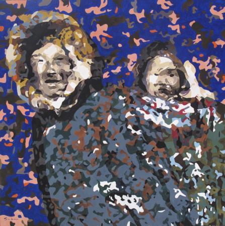 Jacques GODIN - 2020 Femme à l'enfant 02, huile sur panneau, 80 x 80 cm