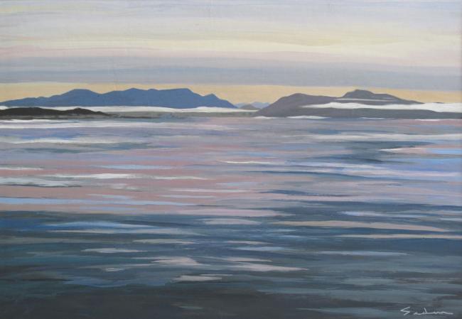 Jacques GODIN - 2020 Mer d'huile, gouache sur papier, 34 x 49 cm