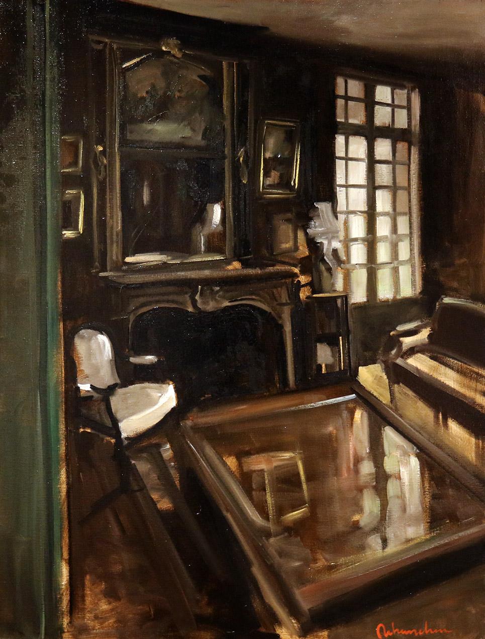 Christoff DEBUSSCHERE - 84 - Cheminée et table basse - 50F (116 x 89 cm)