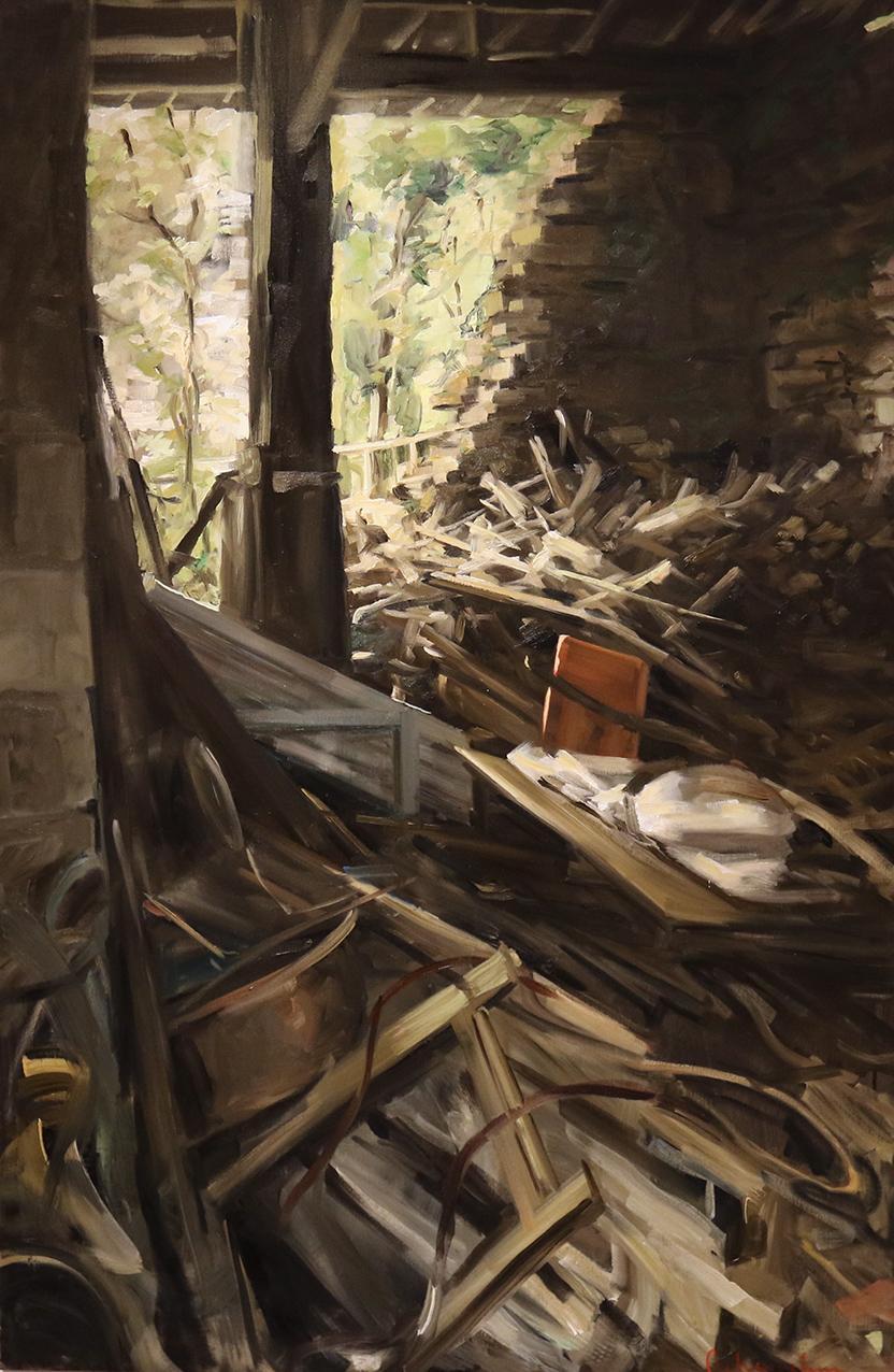 Christoff DEBUSSCHERE - 45 - La maison éventrée et le tas de bois - 80P (146X97 cm)
