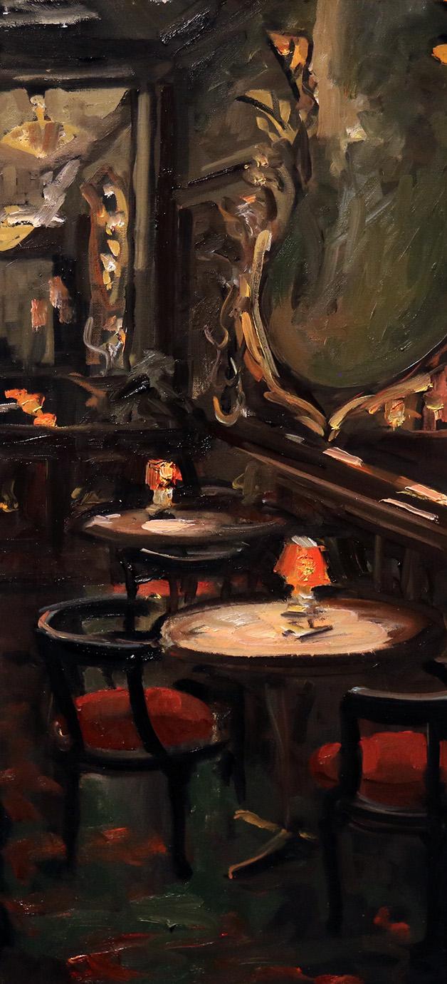 Christoff DEBUSSCHERE - 66 - Petites tables et les 2 lampes - Maxim's - 35X75 cm