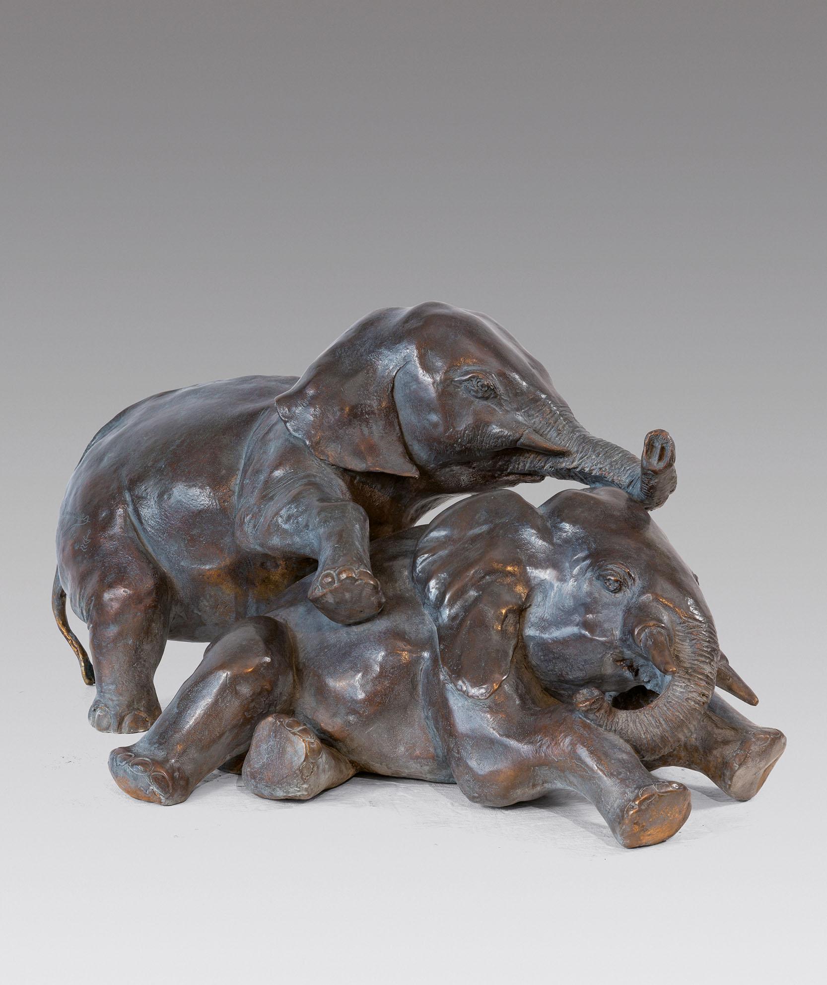 Jean Lemonnier - Jeux d'éléphanteaux, bronze H 26, 55, 38 cm