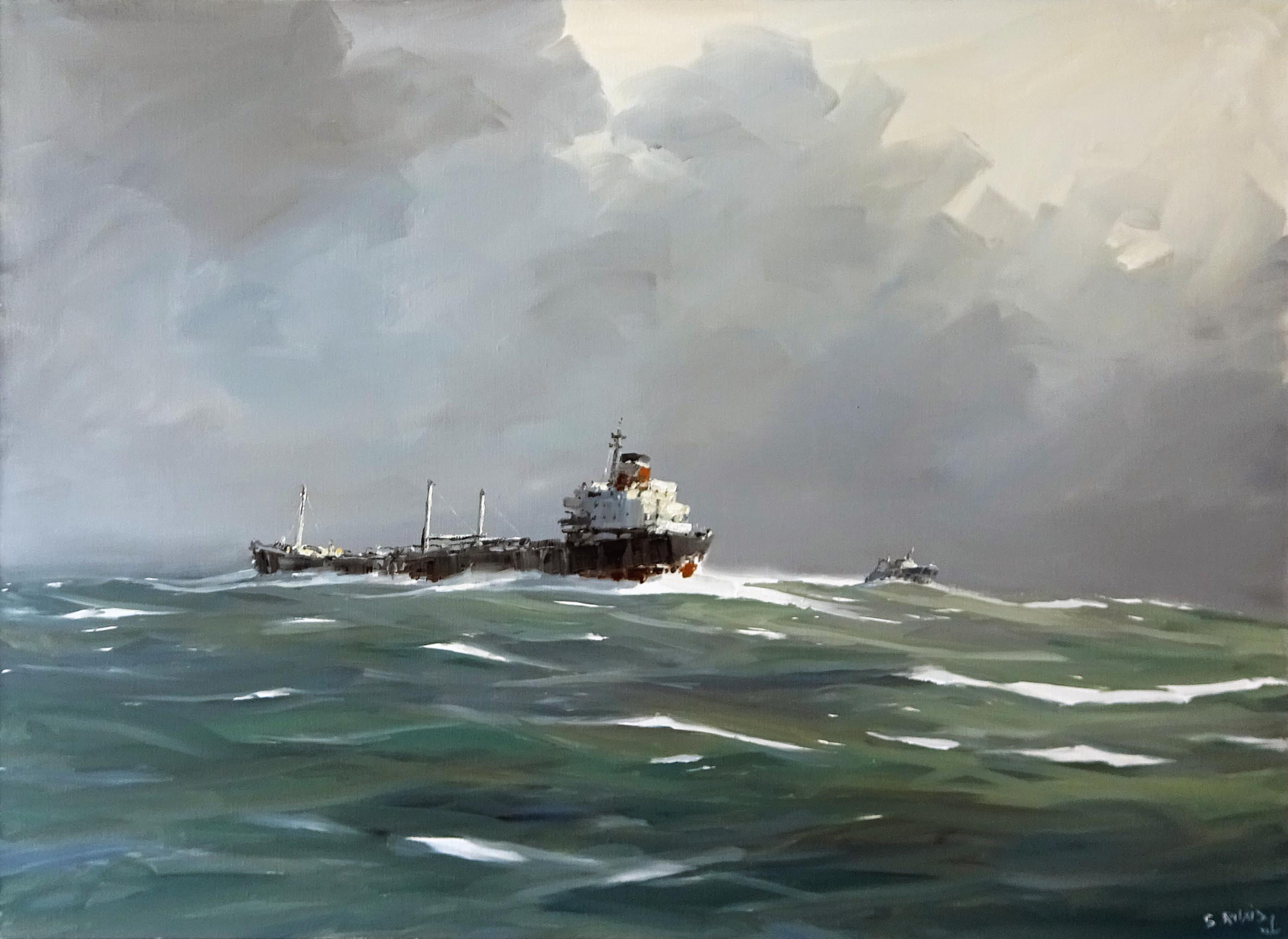 Stéphane RUAIS - n°40 Cargo par gros temps 40P 100X73cm - Huile sur toile