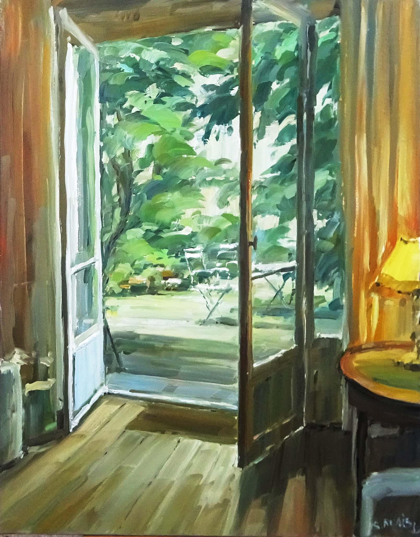 Stéphane RUAIS - n°21 Vue sur jardin - Paris 15P 65X50cm - Huile sur toile