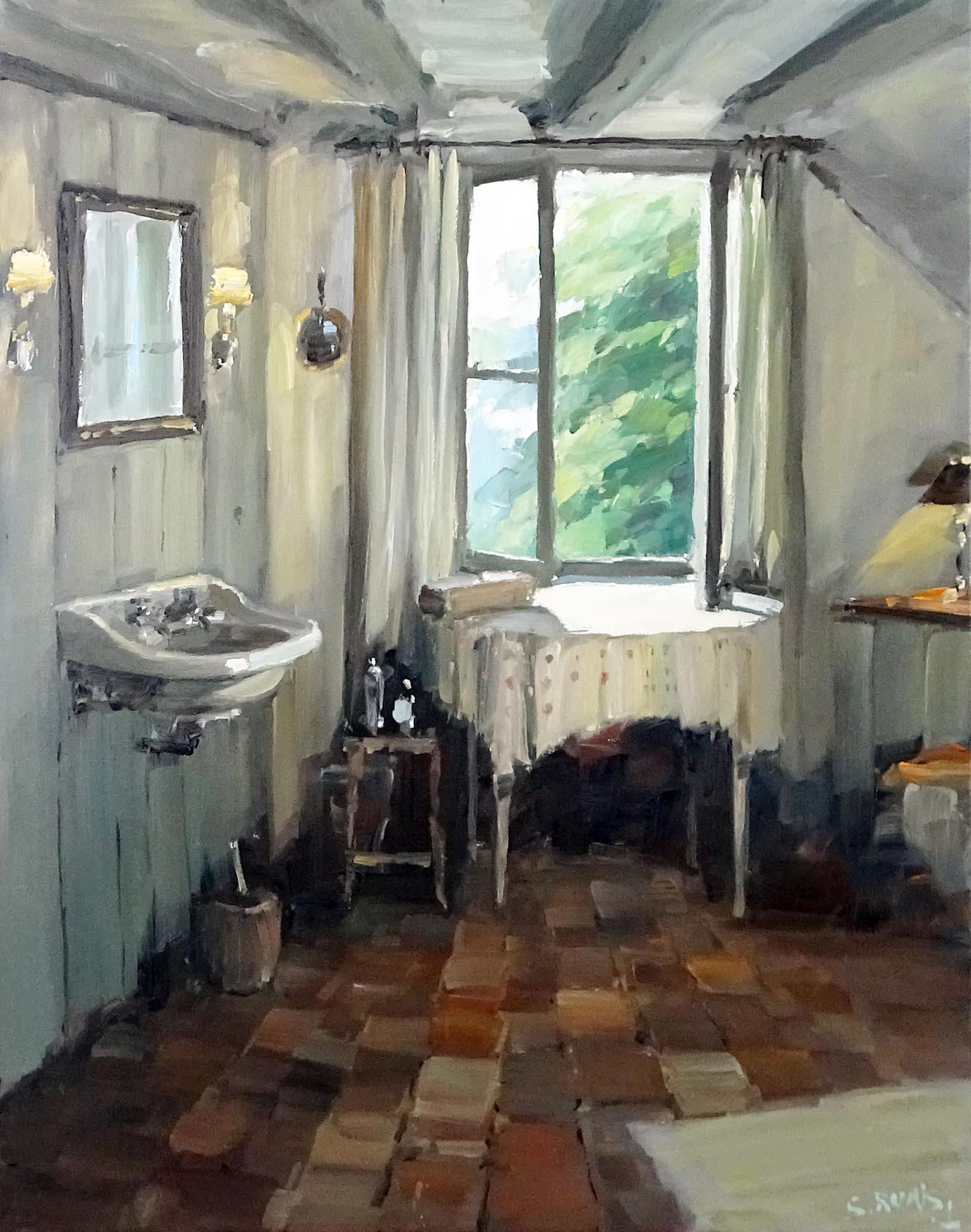Stéphane RUAIS - n°17 Salle de bains Mérinville 15P 65X50cm - Huile sur toile