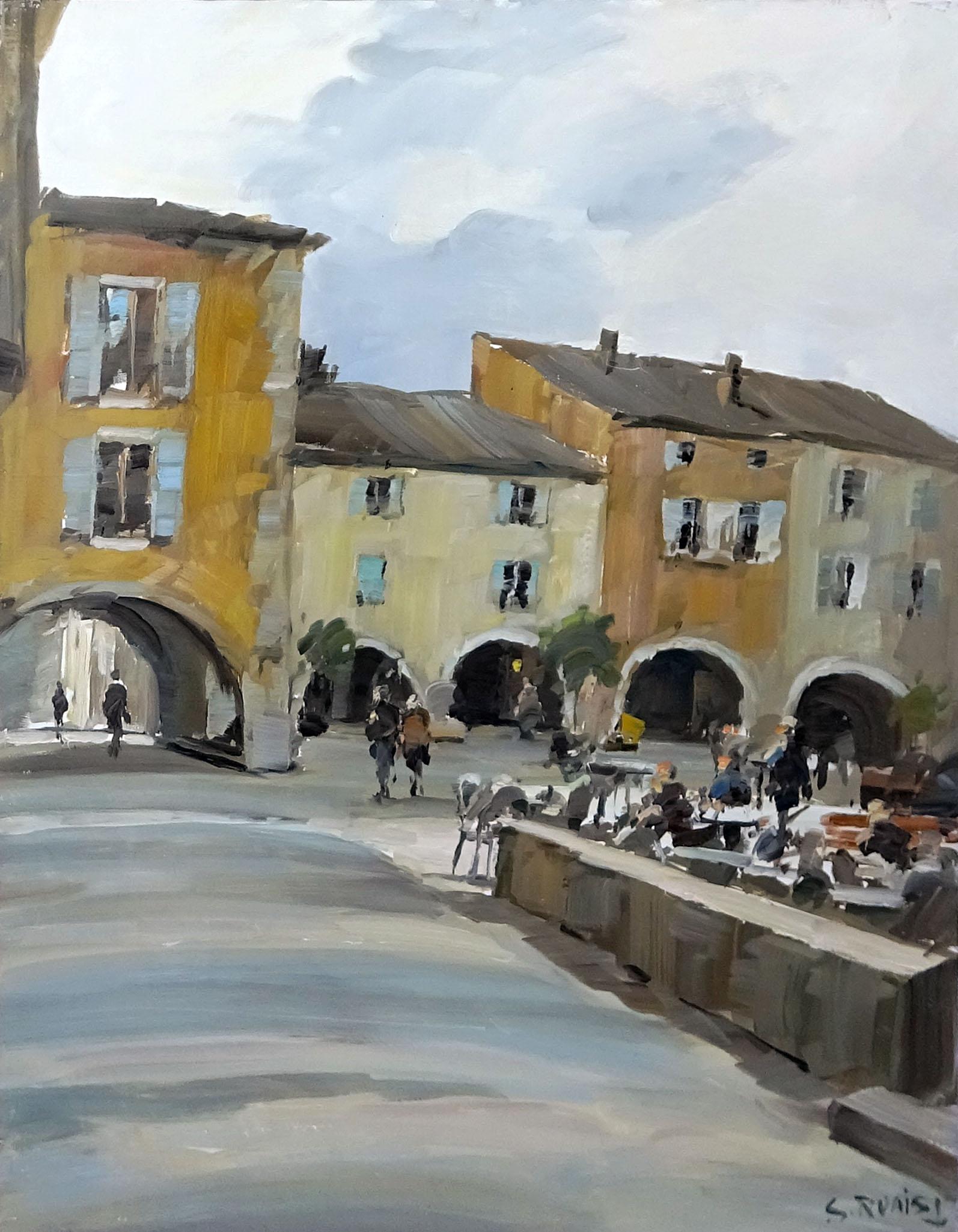 Stéphane RUAIS - n°18 Valbone - La place par temps gris 15P 65X50cm - Huile sur toile