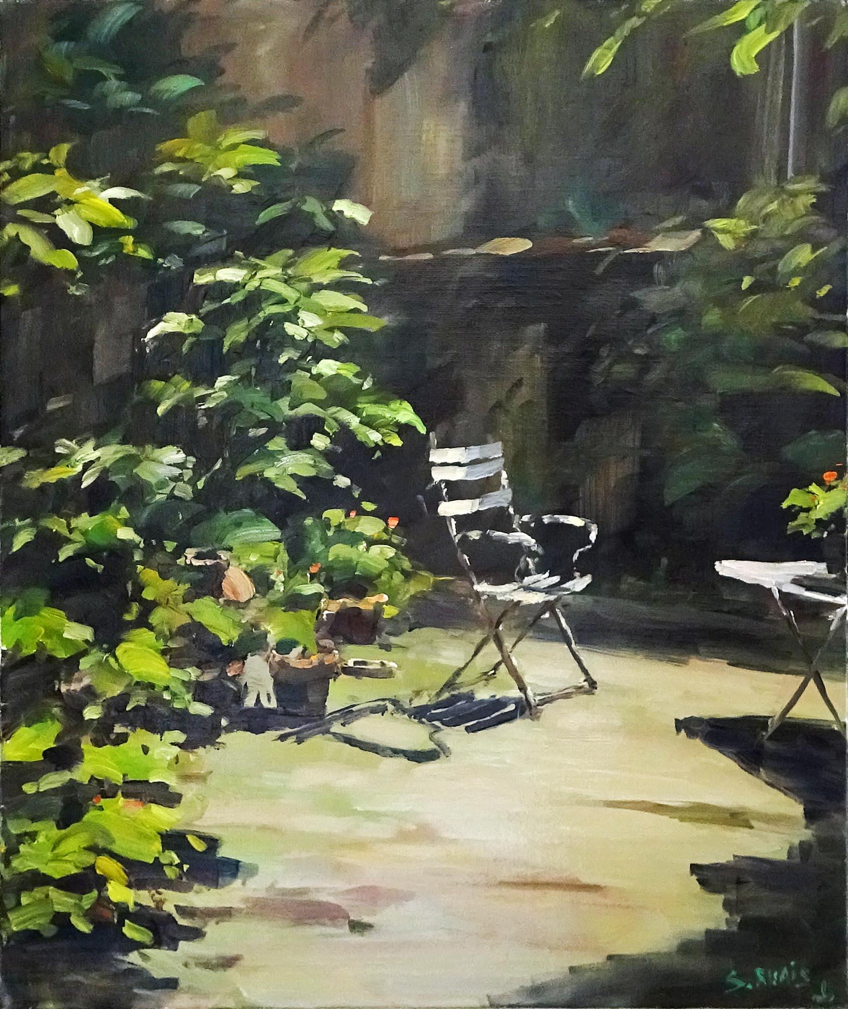 Stéphane RUAIS - n°9 Soleil du matin dans mon jardin 10F 55X46cm - Huile sur toile
