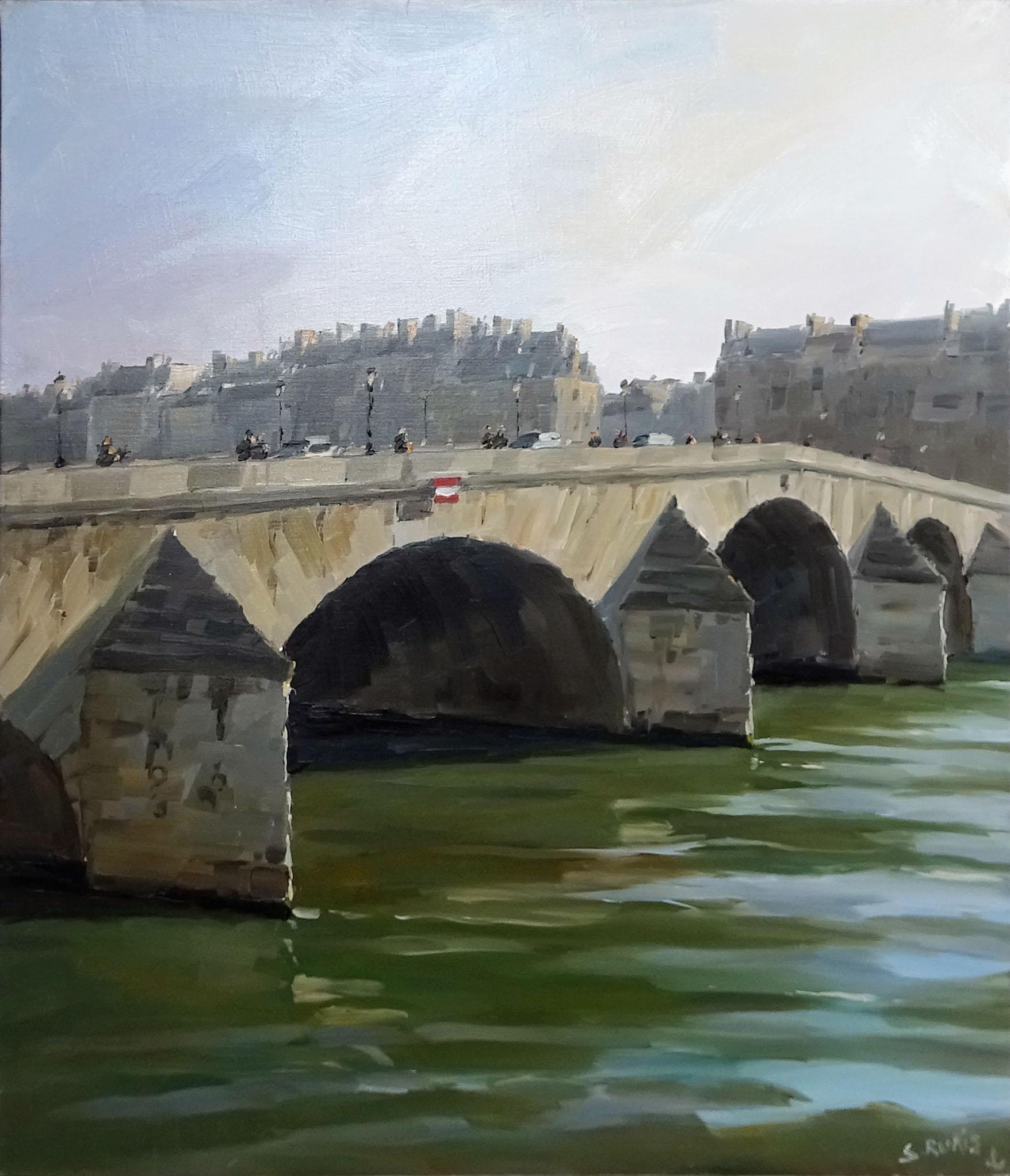 Stéphane RUAIS - n°45 Pont Royal 15F 65X54cm - Huile sur toile