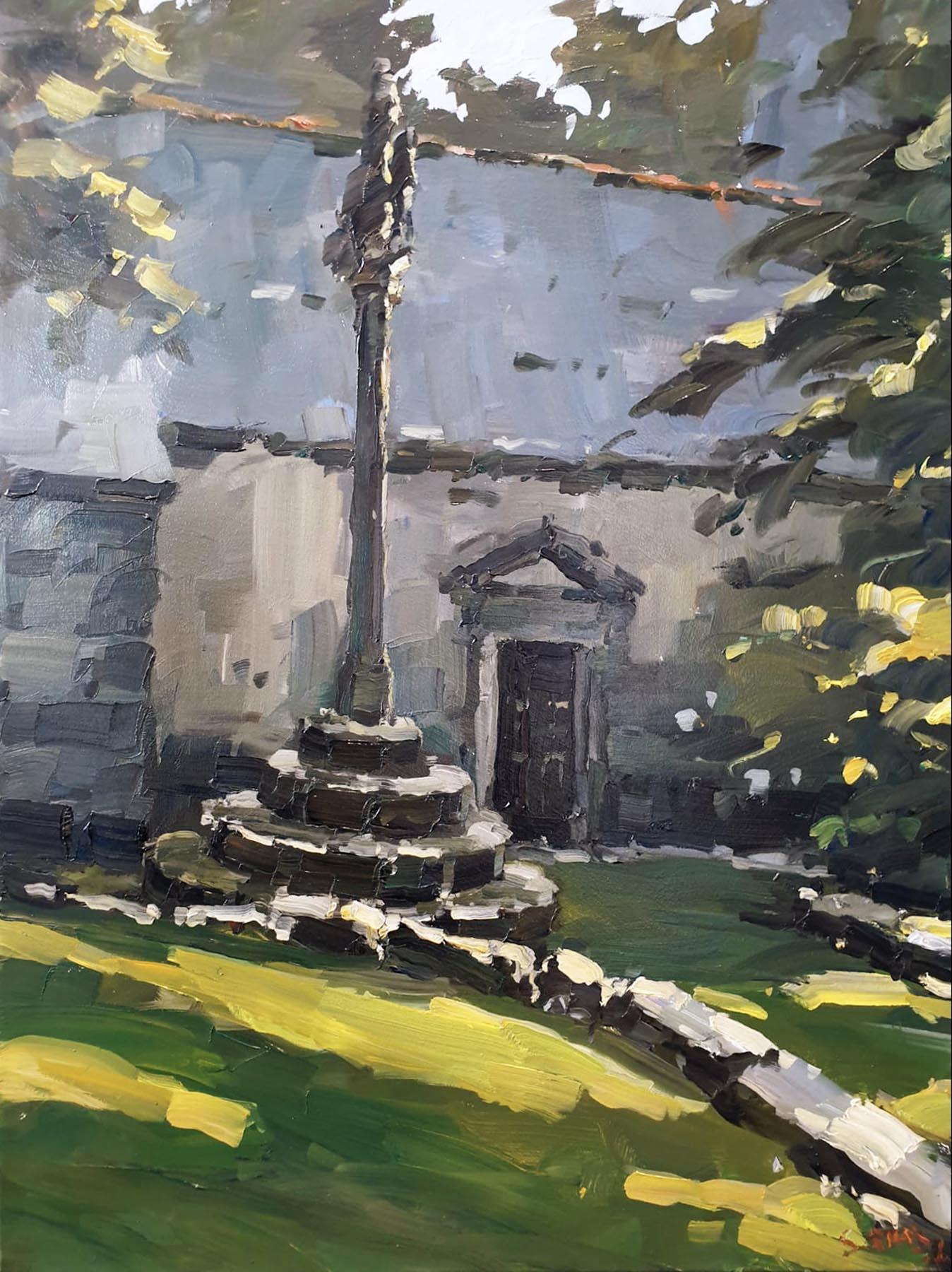Stéphane RUAIS - n°48 Calvaire et chapelle 12F 61X46cm - Huile sur toile