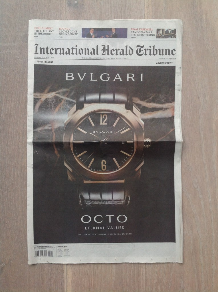 International Herald Tribune Oct 18,2012 Cover