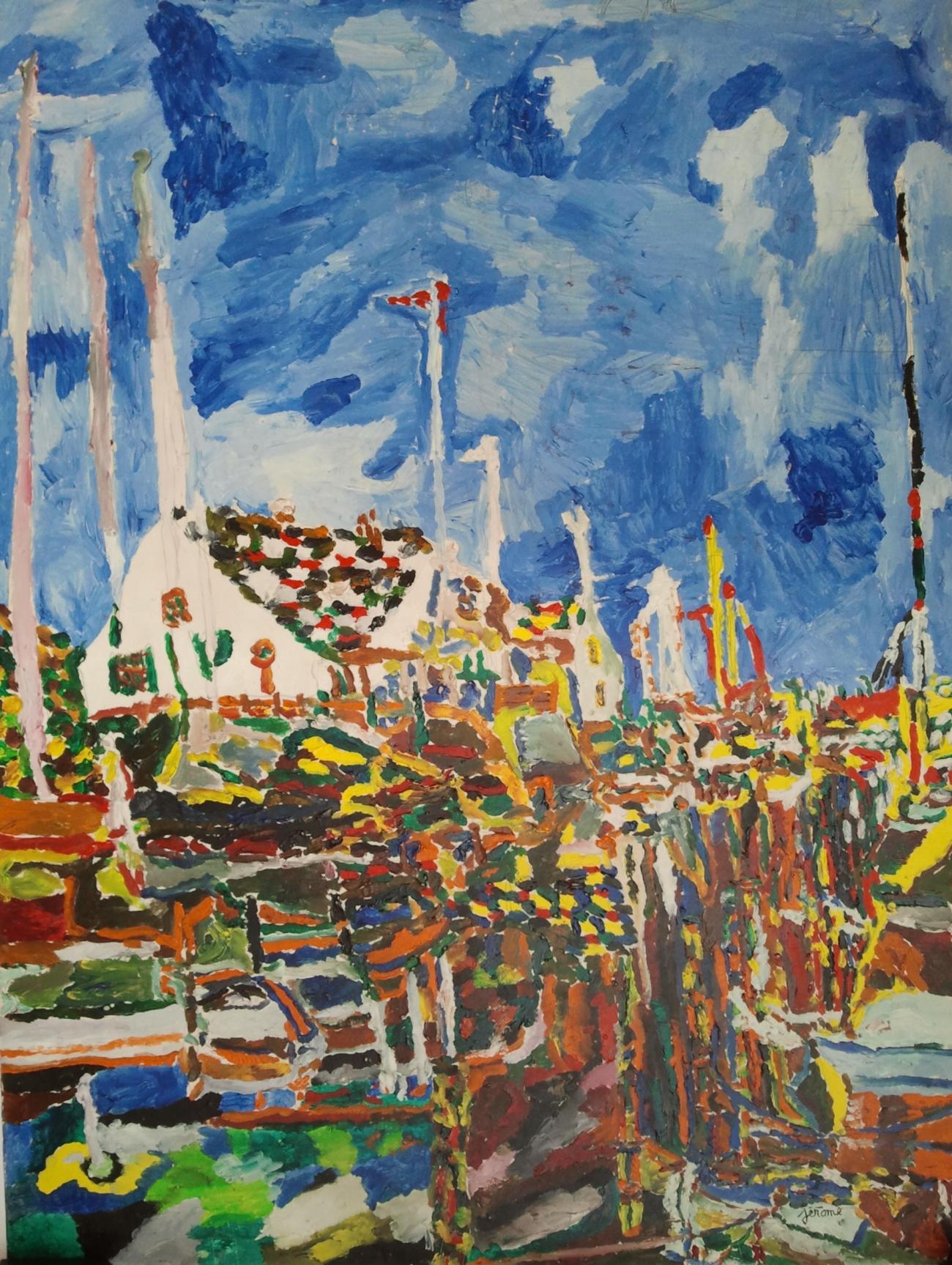 pezzillo jérôme village portuaire sur grand ciel bleu