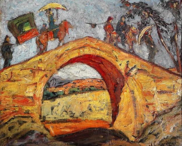 palanquin et son escorte sur un pont
