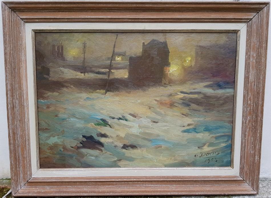 Village la nuit sous la neige DAENS Antoine