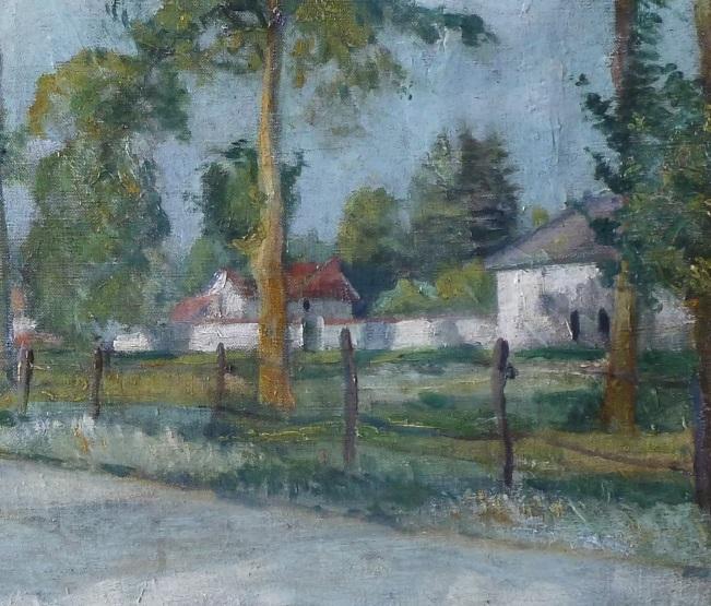 Anonyme-entree-de-village-ensoleille-huile-sur-toile-zoom