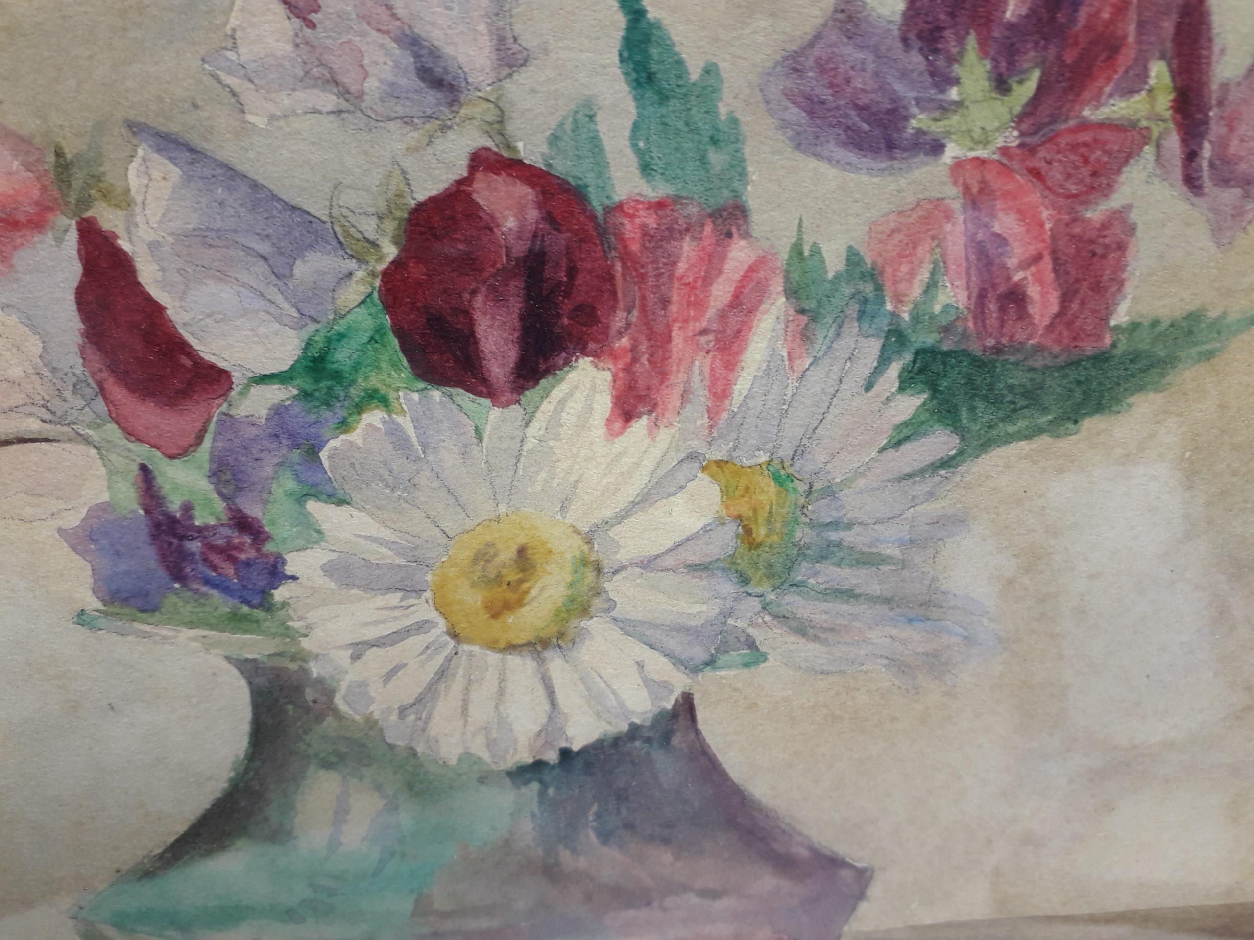 Guerin-charvet-renee-bouquet-de-marguerites-et-pois-de-senteur-detail