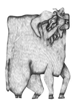 Bull. Graphite. 29,7X42cm
