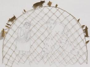Autel à Sainte Marguerite. Fil metallique et laiton. 93X64 cm .