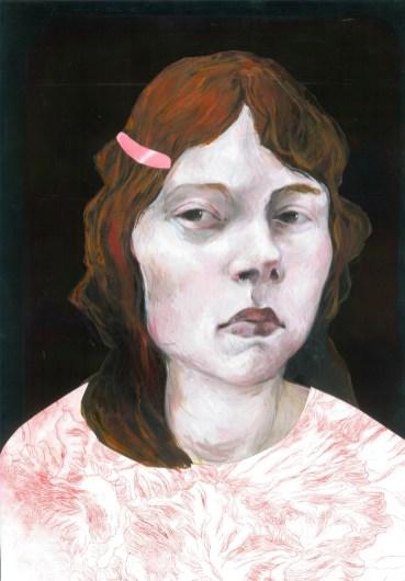 Portrait mélancolique 1 Peinture à l'huile et gravure 36X46 cm. 800 euros