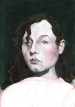 Portrait mélancolique 2 Peinture à l'huile et gravure. 36X46 cm 800 euros