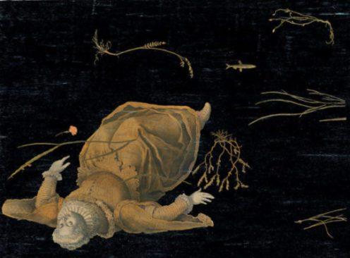 Le chant du marais. La Huguenote. Acrylique, encre de chine et crayon sur papier. 56x76cm 1400 euros