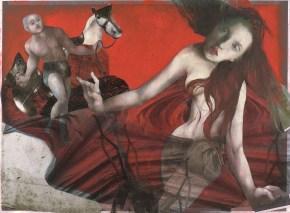 La naissance d'Aphrodite. Peinture à l'huile sur papier et collage. 50x60cm. 1500 euros