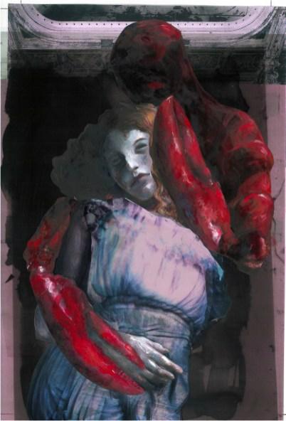 Ophélia. Peinture à l' huile sur papier et collage. 30X46cm. 900 euros
