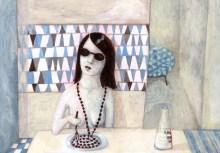 La dame au collier de perles (3).Acrylique 26X19cm. 180 euros